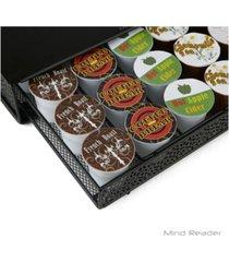 mind reader 36 capacity k-cup single serve coffee pod storage drawer with flower pattern metal mesh