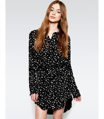 charlie button up shirt dress - m polkadot