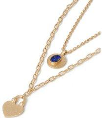 mens blue heart and lapis stone pendant necklace*