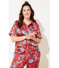 loft plus floral silky pajama top