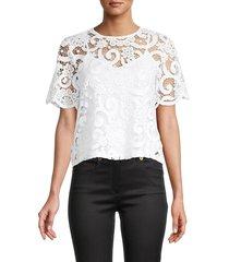 nanette nanette lepore women's lace tie-back top - white - size m