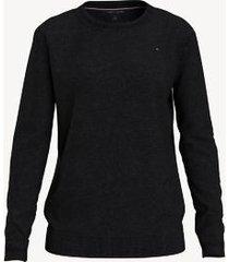 tommy hilfiger women's essential solid crewneck sweater deep black - xxl