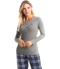pijama longo com calça xadrez paola