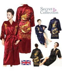 hot man womens silk robe kimono gown black blue chinese dragon sleepwear dress