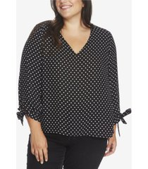 cece plus size 3/4 tie sleeve heirloom dot top