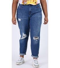 calça jeans feminina plus size mom cintura super alta destroyed azul escuro
