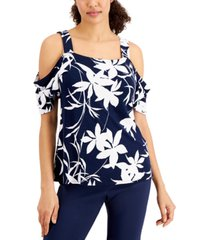 jm collection petite draped cold-shoulder-sleeve top, created for macy's