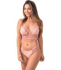 conjunto sem bojo vip lingerie com renda francesa rosa - kanui
