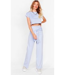 womens tell 'em tie cropped tee and wide-leg pants set - pale blue
