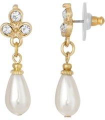 2028 gold-tone crystal imitation pearl drop earring
