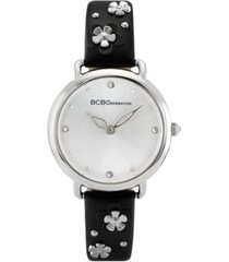 bcbgeneration ladies 3 hands slim black synthetic leather strap watch, 34 mm case