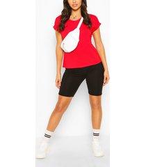 boxy basic t-shirt met omgeslagen mouwen, rood