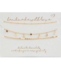 handmade for you heart bracelet set - gold