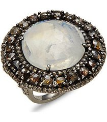 black rhodium-plated sterling silver rainbow moonstone & diamond ring