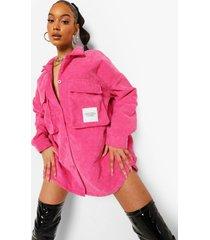 oversized corduroy blouse met utility zakken, hot pink