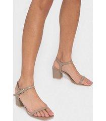nly shoes square block heel sandal low heel nougat