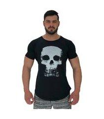 camiseta longline alto conceito skull preto