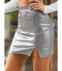 falda con dobladillo con abertura metálica yoins basics