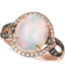 le vian chocolatier opal (2-1/3 ct. t.w.), chocolate diamonds and vanilla diamonds (1/2 ct. t.w.) ring in 14k rose gold, created for macy's
