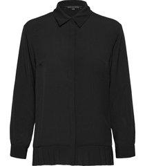 crepe light pleat shirt långärmad skjorta svart french connection
