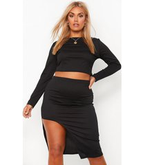 plus geribbelde crop top met lange mouwen en midi rok set, black