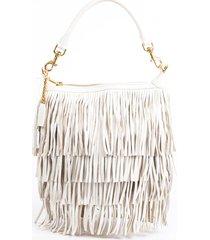 saint laurent emanuelle small white fringe crossbody bag white sz: m
