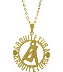 gargantilha horus import arquitetura banhada ouro 18k feminina