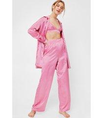 womens satin 3 pc oversized pajama shirt and pants set - mauve
