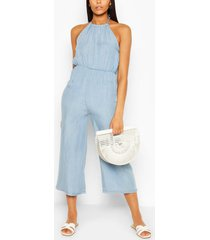 chambray halterneck jumpsuit, light blue