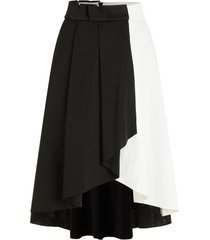 two tone high low midi skirt