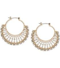 marchesa gold-tone crystal fan small hoop earrings s