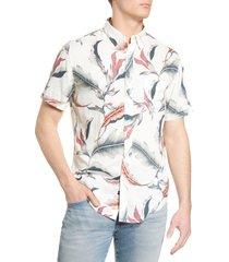 men's rails carson floral short sleeve linen blend button-up shirt