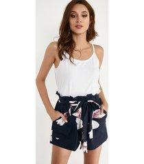 pantalones cortos azul marino con lazo con estampado floral al azar diseño