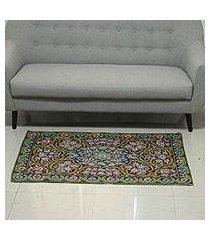 wool chain stitch rug, 'kashmir festival' (3x5) (india)