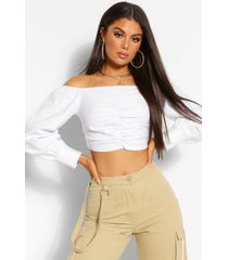 woven stretch ruched off the shoulder crop top, ivory