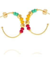 brinco dona diva semi joias argola miã§anga colorido - dourado - feminino - dafiti