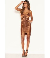 ax paris women's ruched front satin dress