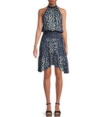 a.l.c. women's cody leopard-print sleeveless silk dress - cream blue - size 2