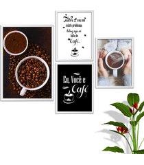 kit conjunto 4 quadro oppen house s frases eu voc㪠e cafã© lojas cafeteria xãcaras grã£os moldura branca decorativo interiores    sem vidro - branco