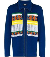 ahluwalia gabbo merino wool-blend cardigan - blue