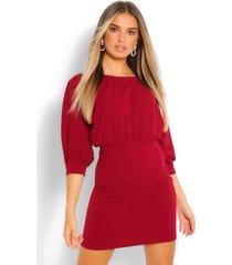3/4 blouson mini dress, berry