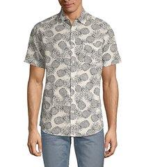 pineapple-print seersucker shirt
