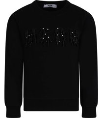 msgm black girl sweatshirt with black logo and rhinestones
