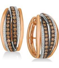 le vian chocolatier diamond hoop earrings (1-1/4 ct. t.w.) in 14k rose gold & white gold