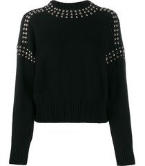 diesel studded pullover jumper - black