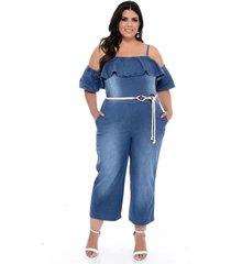 macacã£o jeans plus size marileti pantacourt babados - azul - feminino - dafiti