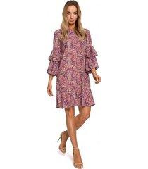 korte jurk moe m575 shift jurk met elastische mouw - model 2