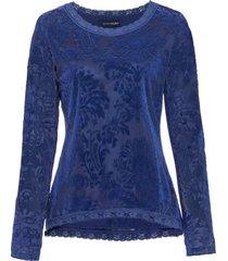 maglia a maniche lunghe in tessuto dévoré (blu) - bodyflirt