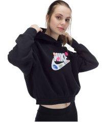 blusão de moletom com capuz nike sportswear icon clash flc hoodie bb - feminino - preto