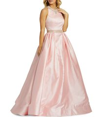 mac duggal women's embellished ball gown - light pink - size 0